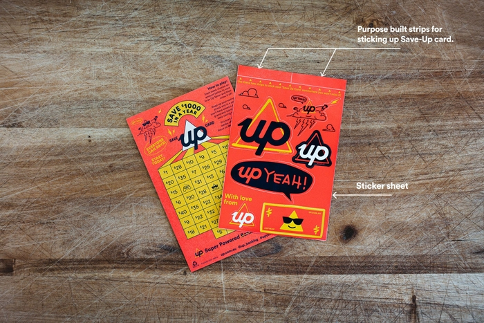 Up Save to Win Game and Stickers