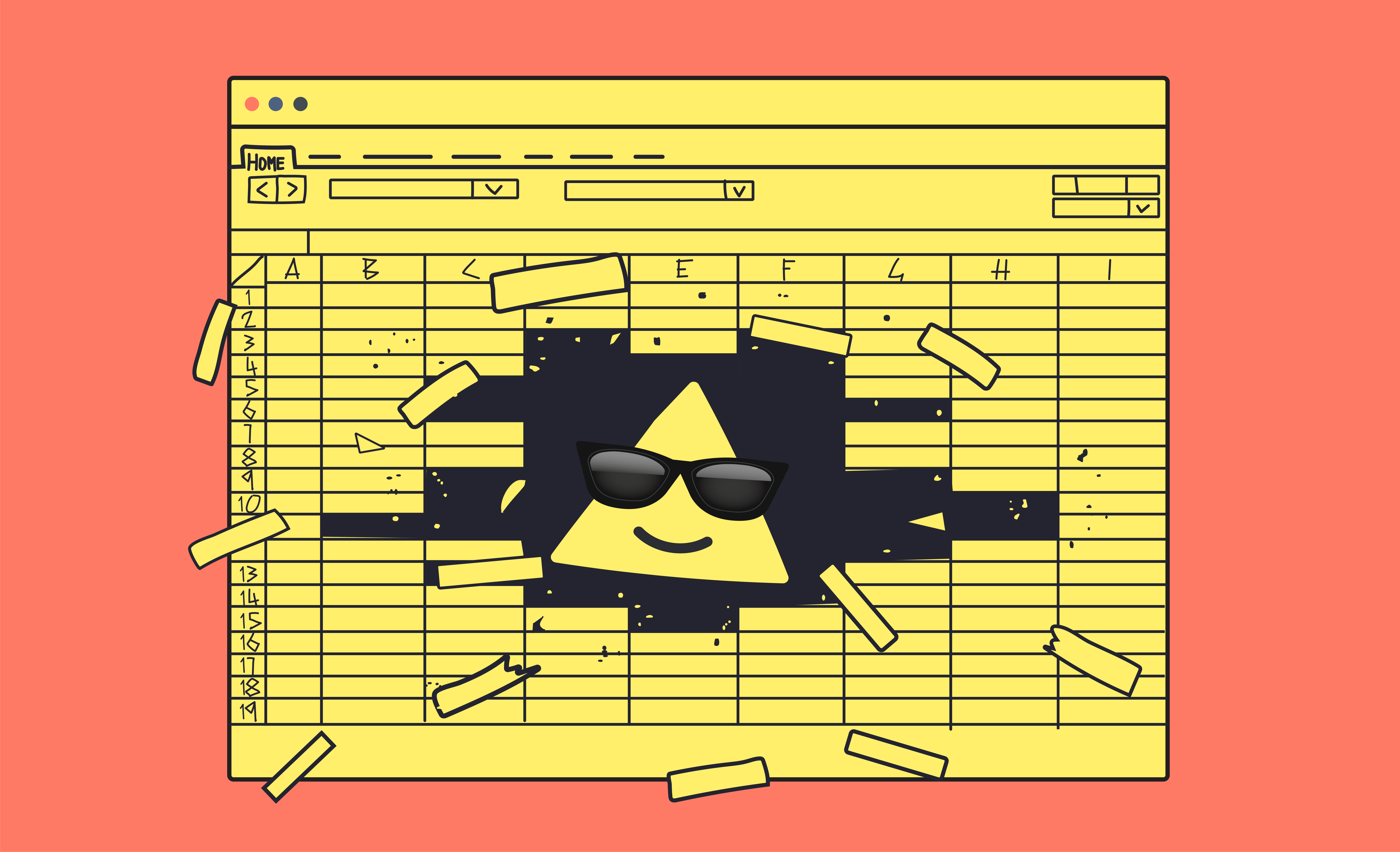 Up mascot wearing sunglasses busting through a spreadsheet