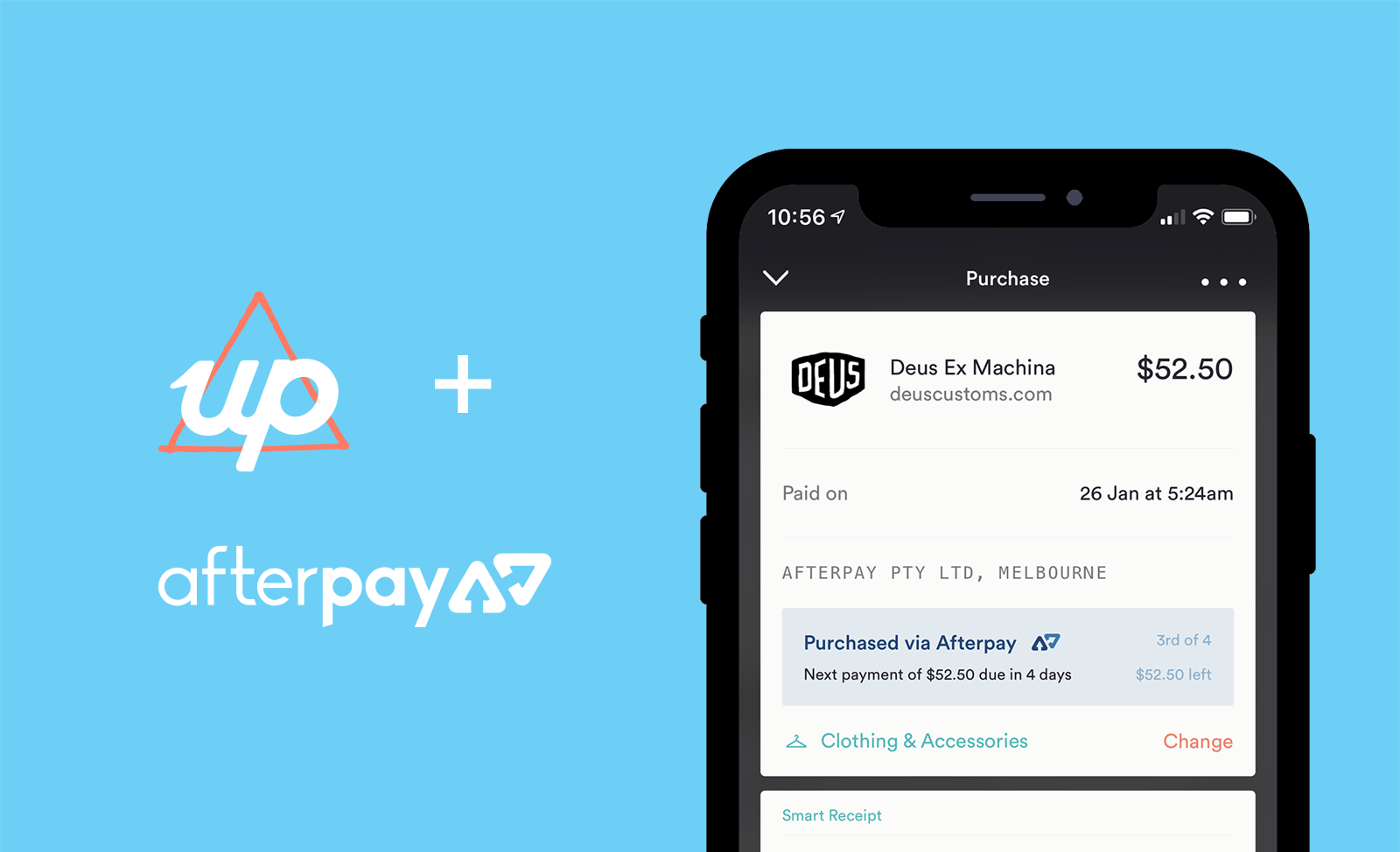 Up and AfterPay are now connected