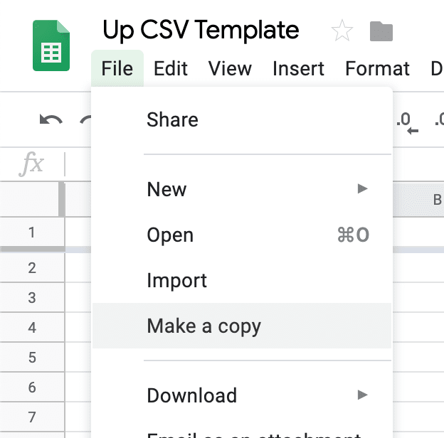 Make a copy of the CSV file by clicking 'File', then 'Make a copy'
